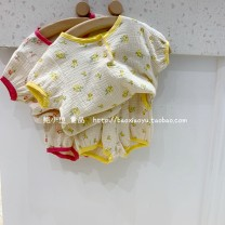suit Other / other Yellow, red 80cm,90cm,100cm,110cm,120cm female summer Short sleeve + pants 2 pieces routine Broken flowers cotton Three years old, six years old, 18 months old, two years old, five years old, four years old Chinese Mainland