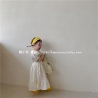 Dress Beige female Other / other 80cm,90cm,100cm,110cm,120cm,130cm Cotton 100% summer Solid color Pure cotton (100% cotton content) Pleats 7 years old, 3 years old, 6 years old, 18 months old, 2 years old, 5 years old, 4 years old Chinese Mainland