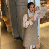 Dress Spring 2021 Thousand bird check dress, shirt S,M,L Mid length dress Two piece set Sleeveless commute Crew neck lattice Socket other Type A Auricularia auricula, button 81% (inclusive) - 90% (inclusive) other