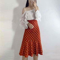 skirt Spring 2021 S,M,L,XL Orange, black Mid length dress commute High waist skirt Dot Type A 18-24 years old Korean version