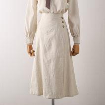 skirt Spring 2021 Average size Apricot, black Mid length dress Versatile Natural waist A-line skirt Solid color Type A