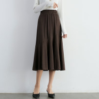 skirt Spring 2021 Average size Brown, black Mid length dress commute High waist Umbrella skirt Solid color Type A 18-24 years old Korean version