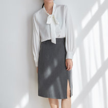 skirt Spring 2021 S,M,L grey Mid length dress commute High waist skirt Type A 25-29 years old Ol style