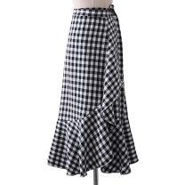 skirt Spring of 2019 Average size Pink, black, khaki Mid length dress Versatile High waist Ruffle Skirt lattice Type A 18-24 years old