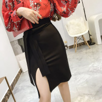 skirt Autumn of 2019 S,M,L,XL black Middle-skirt commute High waist skirt Solid color Type A 25-29 years old 30% and below cotton Stitching, three-dimensional decoration, asymmetry, lace up Ol style