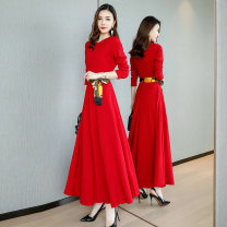 Dress Spring 2020 Red, black M,L,XL,XXL longuette singleton  Long sleeves commute Crew neck High waist Solid color Socket Big swing other Others 35-39 years old Type A Other / other lady Bow, pocket, zipper Z796 31% (inclusive) - 50% (inclusive) other polyester fiber