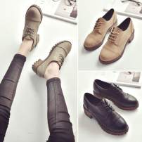 Low top shoes 35,36,37,38,39 Other / other Grey, camel, black Round head PU Square heel Low heel (1-3cm) Deep mouth PU Spring 2017 Frenulum Korean version Adhesive shoes Solid color rubber Block shoes PU