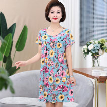 Nightdress Feather art L XL XXL XXXL Sweet Short sleeve Leisure home Middle-skirt summer Plants and flowers old age Crew neck viscose  printing More than 95% Ancient blue and white 200g and below Spring of 2018 Viscose (viscose) 100% Pure e-commerce (online only)