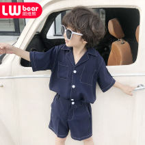 suit Veronica bear 105cm 110cm 120cm 130cm 140cm 150cm male summer leisure time Short sleeve + pants 2 pieces Thin money There are models in the real shooting Single breasted nothing Solid color other friend Class B Polyester 100% Summer of 2019 Chinese Mainland Guangdong Province