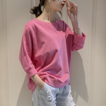 T-shirt S M L XL Spring of 2019 three quarter sleeve Crew neck easy Regular routine commute other 96% and above 18-24 years old Korean version youth Solid color Farhanie Decorative thread of splicing open line Other 100% Pure e-commerce (online only)