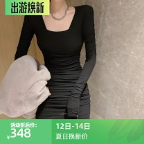 Dress Winter 2020 Gray, black Average size Mid length dress singleton  Long sleeves commute square neck Solid color Socket Pleated skirt lady WN010412 other cotton