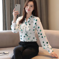 Lace / Chiffon Autumn of 2019 Pink, green, blue, black S,M,L,XL,2XL Long sleeves commute Socket easy Super short stand collar Dot shirt sleeve Other / other bow Korean version