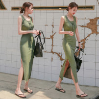 Dress Summer 2020 Black, army green, navy blue S,M,L longuette singleton  Sleeveless commute Half open collar High waist Solid color Socket One pace skirt camisole Type X Korean version Rivet, cloth 91% (inclusive) - 95% (inclusive) other cotton