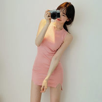 Dress Summer 2017 White, pink, black F-means Short skirt singleton  Sleeveless commute Crew neck High waist Solid color Socket One pace skirt routine 18-24 years old Type X Other / other Korean version More than 95% knitting