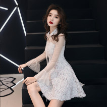 Dress / evening wear Weddings, adulthood parties, company annual meetings, daily appointments XS S M L XL XXL Picture color grace Short skirt middle-waisted Winter of 2018 Skirt hem stand collar zipper 18-25 years old Yayuan puff sleeve Polyester 90% other 10%