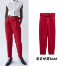 Casual pants Red, camel, purple, black, light purple, yellow, off white, green, pink, orange, light pink, apricot XS,S,M,L Autumn 2020 trousers Sweet TRAF college