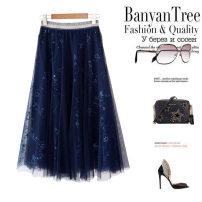 skirt Summer 2020 L,M,S blue Mid length dress street Natural waist A-line skirt Sequins, sequins Europe and America