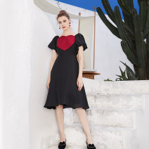 Dress Summer of 2019 Black big love dress XS S M L XL Mid length dress singleton  Short sleeve commute V-neck High waist Solid color zipper Princess Dress bishop sleeve Others 25-29 years old Type X JUNGLE ME Retro 19LYQ19 30% and below other nylon Viscose (viscose) 85% polyamide (nylon) 15%