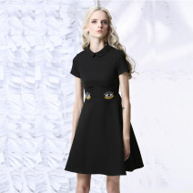 Dress Fall 2017 Eye Embroidered Black Dress XS S M L XL Middle-skirt singleton  Short sleeve commute Doll Collar High waist Solid color Socket A-line skirt routine 25-29 years old Type A JUNGLE ME Retro Embroidery with cloth f150612 91% (inclusive) - 95% (inclusive) other polyester fiber