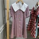 Nightdress Red, green 155(S),160(M),165(L),170(XL) Short sleeve Dot V-neck cotton brocade