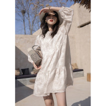 Dress Summer 2021 Cream apricot long, black long, cream apricot short, black short, cream apricot long second batch, cream apricot short second batch S,M,L Mid length dress singleton  Long sleeves street High waist Single breasted routine 18-24 years old H1124W 71% (inclusive) - 80% (inclusive) other