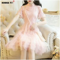 Dress Summer of 2019 Apricot Blue Pink S M L XL 2XL 3XL 4XL Miniskirt singleton  Short sleeve Sweet stand collar middle-waisted Solid color Socket Princess Dress routine 18-24 years old Type A Corbica Splicing 2568-51276 More than 95% Lace other Other 100% princess