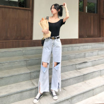 Jeans Summer of 2019 wathet S M L XL trousers High waist Wide legged trousers routine 18-24 years old Worn out washed white zipper button Multi Pocket other Cotton denim light colour DJ1223# Dongji Cotton 100% Exclusive payment of tmall