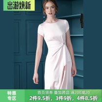 Dress Summer 2021 Navy, light pink S,M,L,XL Mid length dress singleton  Short sleeve commute Crew neck middle-waisted Solid color zipper Big swing Wrap sleeves 30-34 years old Type X Bao Yan Ol style T2599 81% (inclusive) - 90% (inclusive) polyester fiber
