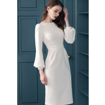Dress Spring 2021 White, black S. M, l, XL, unconventional knitting, double cotton clip, crisp and thick Mid length dress singleton  Long sleeves street One word collar middle-waisted Solid color zipper One pace skirt bishop sleeve 30-34 years old T-type Bao Yan 3D T2061 knitting nylon