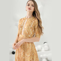Dress Summer 2021 yellow S,M,L,XL longuette singleton  elbow sleeve commute Crew neck middle-waisted Abstract pattern zipper Big swing routine Others 30-34 years old Type X Bao Yan Ol style Splicing, three-dimensional decoration T3592 81% (inclusive) - 90% (inclusive) other cotton