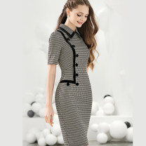 Dress Summer 2021 Black and white S,M,L,XL Mid length dress singleton  Short sleeve commute Polo collar middle-waisted houndstooth  zipper One pace skirt routine Others 30-34 years old Type H Bao Yan Ol style Button, button T3610