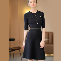 Dress Spring 2021 Navy, Navy long sleeves M, L Middle-skirt singleton  elbow sleeve commute Crew neck middle-waisted Solid color Socket Big swing routine 30-34 years old Type A Bao Yan Ol style Button, button knitting