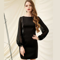 Dress Spring 2021 black XS,S,M,L,XL Middle-skirt singleton  Long sleeves commute One word collar middle-waisted Solid color Socket One pace skirt bishop sleeve Others 30-34 years old Type H Bao Yan lady tassels T3861 51% (inclusive) - 70% (inclusive) other Cellulose acetate