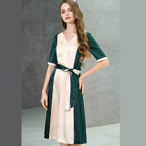 Dress Summer 2021 Apricot + dark green S,M,L,XL longuette singleton  Short sleeve commute V-neck middle-waisted other zipper A-line skirt routine Others 30-34 years old Type A Bao Yan lady Lace up, contrast T3838 51% (inclusive) - 70% (inclusive) other polyester fiber