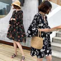 Women's large Summer 2021 Large XL, large XXL, large XXL, large XXXXL, large L Dress singleton  commute easy thin Socket elbow sleeve Broken flowers Korean version V-neck have cash less than that is registered in the accounts polyester fiber Three dimensional cutting pagoda sleeve 25-29 years old