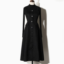 Dress Winter of 2019 Black single skirt black skirt + black sweater S M L XL XXL Mid length dress singleton  Sleeveless commute One word collar High waist Solid color Single breasted Big swing other straps 25-29 years old Type A To Ji Chun Korean version Stitching strap button TL879 More than 95%