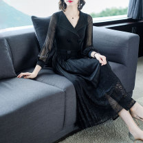 Women's large Autumn of 2019 Black Navy M L XL 2XL 3XL Dress singleton  commute Self cultivation moderate Socket Long sleeves Retro V-neck Medium length printing and dyeing DM-9790ddsd Dai Mao 35-39 years old Bright silk Medium length Other 100% Exclusive payment of tmall