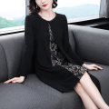 Women's large Spring of 2019 black M L XL 2XL 3XL 4XL 5XL Dress singleton  commute easy moderate Socket Long sleeves lady Crew neck Medium length printing and dyeing DM-6414 Dai Mao 35-39 years old Bright silk Medium length Other 100% Exclusive payment of tmall