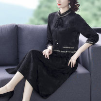 Women's large Spring 2021 Black red M L XL 2XL 3XL 4XL 5XL Dress singleton  commute easy moderate Socket three quarter sleeve Solid color Retro Lotus leaf collar Medium length routine DM011159645X Dai Mao 40-49 years old Bandage Medium length Other 100% other