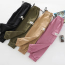 trousers Beijirog / Arctic velvet neutral 110cm 120cm 130cm 140cm 150cm Black army green pink purple Khaki spring and autumn trousers Korean version There are models in the real shooting Casual pants Leather belt middle-waisted cotton Don't open the crotch Cotton 100% h3393 h3393 Autumn of 2019