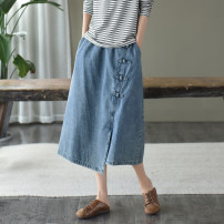 skirt Autumn 2020 Light blue, dark blue Mid length dress commute Natural waist A-line skirt Type A Retro