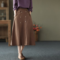 skirt Spring 2021 Average size Black, peacock blue, hemp, coffee Mid length dress commute High waist A-line skirt Solid color Type A QZ9206 Button