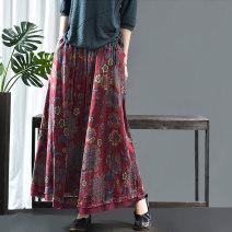 skirt Spring 2020 Average size Red, green, big flower navy blue, broken flower navy blue Mid length dress commute Natural waist Type A QZ6097 hemp Retro