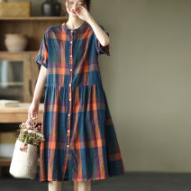 Dress Summer 2021 Average size Mid length dress singleton  Short sleeve commute stand collar Socket routine Others 30-34 years old 51% (inclusive) - 70% (inclusive) hemp