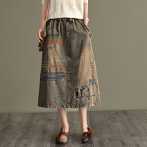 skirt Autumn 2020 Average size Old style Mid length dress commute Natural waist A-line skirt Type A QZ7606 More than 95% Retro