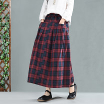 skirt Spring of 2019 Average size Black, green, red Mid length dress Retro Natural waist A-line skirt lattice Type A 30-34 years old QZ2890 51% (inclusive) - 70% (inclusive) hemp