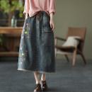 skirt Spring 2021 Average size Denim blue, denim black Mid length dress commute A-line skirt Type A Denim cotton