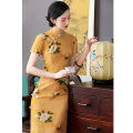 cheongsam Spring 2021 XXL,XXXL,S,M,L,XL Ling Xiang, Fen Dai Short sleeve long cheongsam literature Low slit daily Oblique lapel Decor 18-25 years old Piping Lingxiang cotton
