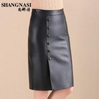 skirt Autumn of 2018 M L XL 2XL 3XL black Short skirt Versatile Natural waist skirt Solid color 40-49 years old S8DQ372 More than 95% Sheepskin Shangnasi / shangna Poetry other Button zipper Sheepskin Pure e-commerce (online only)