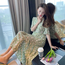 Dress Summer 2021 Picture color M. L, XL, XXL, XXXs pre-sale longuette singleton  Short sleeve commute V-neck High waist Broken flowers Socket Irregular skirt Lotus leaf sleeve Others 18-24 years old Korean version Splicing 81% (inclusive) - 90% (inclusive) Chiffon other